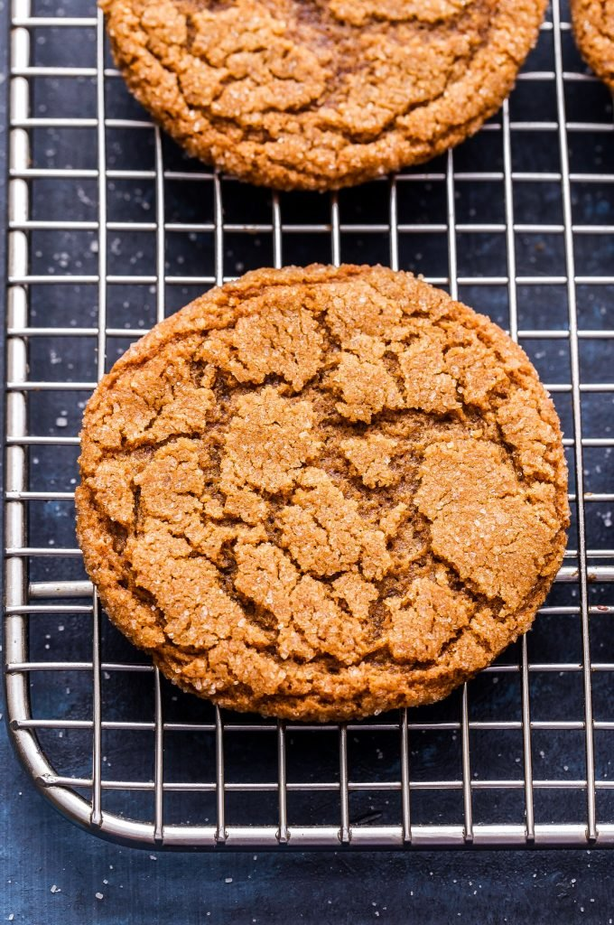 Chewy Ginger Molasses Cookie on wire cooling rack.