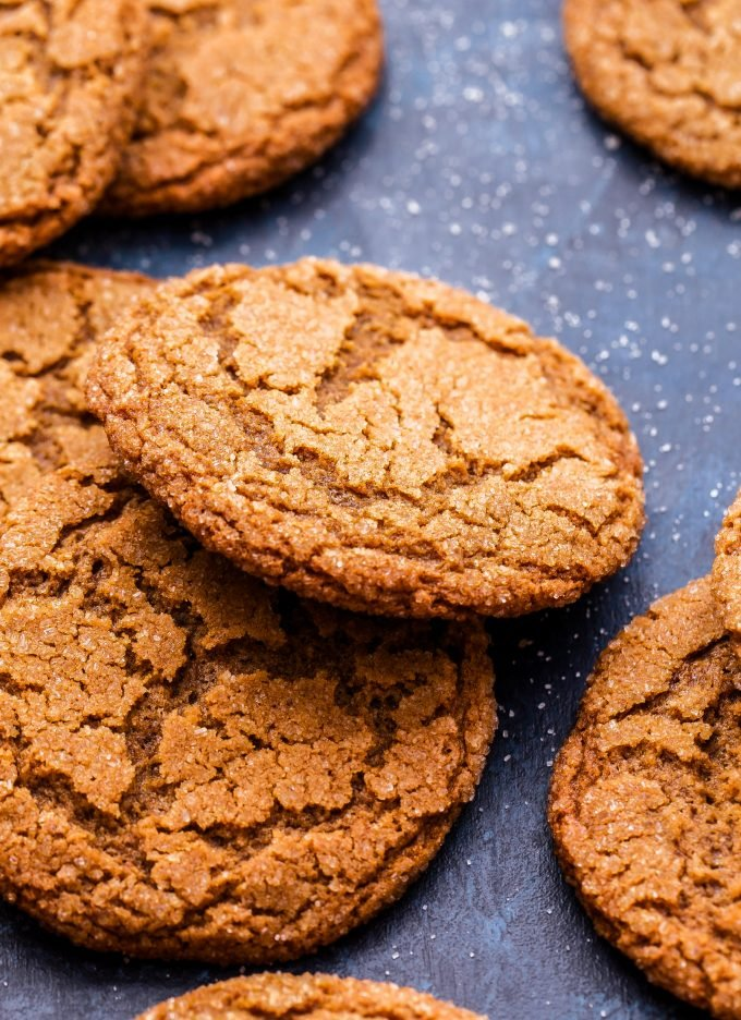 Chewy Ginger Molasses Cookies scattered and one propped up on another.