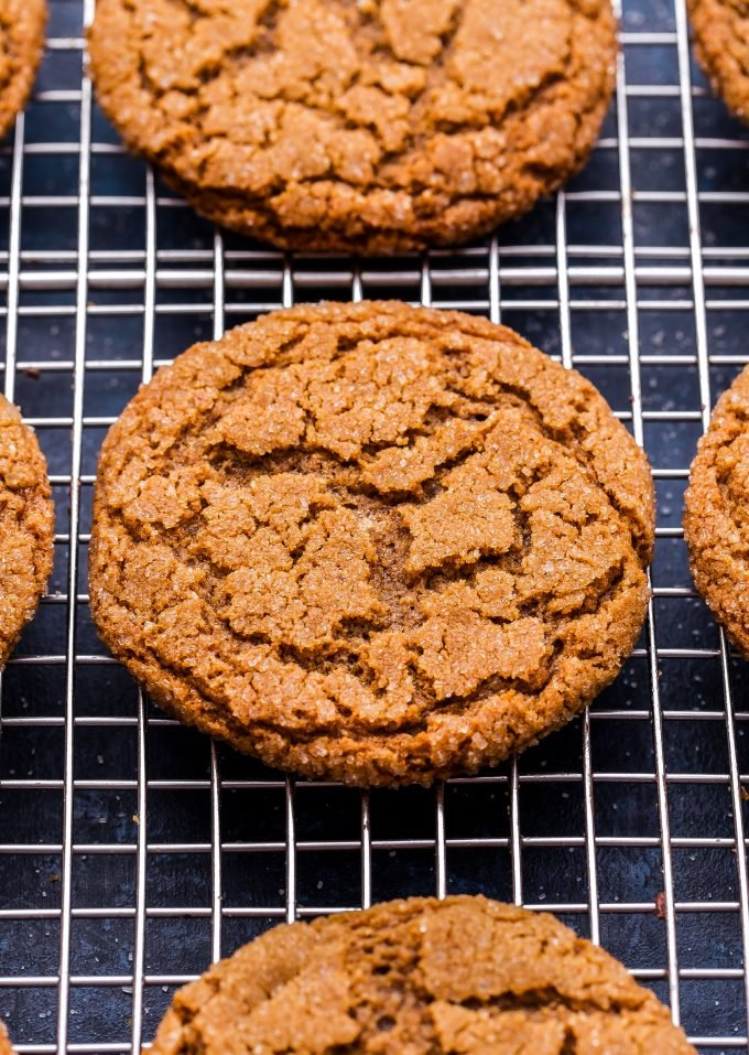 Chewy Ginger Molasses Cookie on wire cooling rack