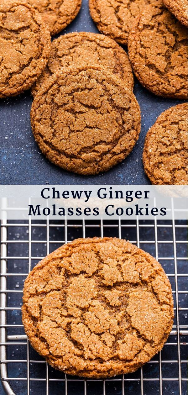 Chewy Ginger Molasses Cookies Pinterest Collage