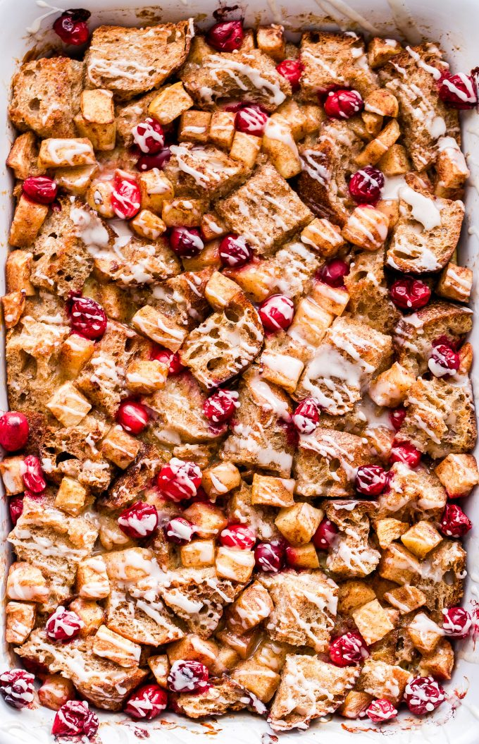 Cranberry Apple French Toast Casserole in a white casserole dish.
