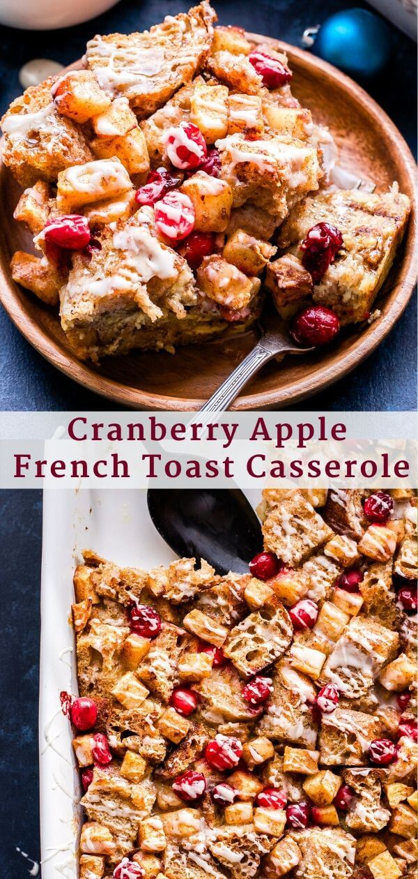 Cranberry Apple French Toast Casserole Pinterest collage.