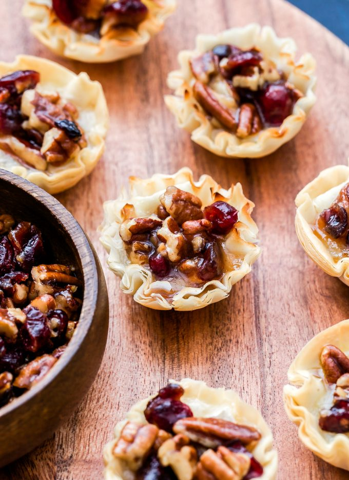 closeup photo of Cranberry Maple Pecan Baked Brie Bites