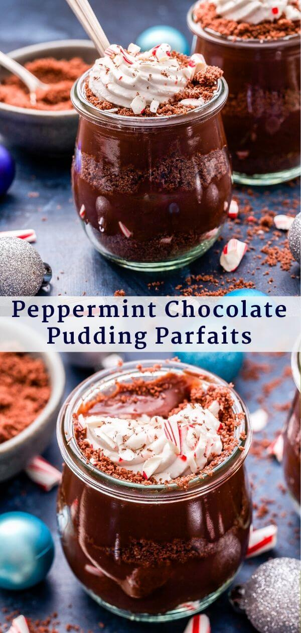 Peppermint Chocolate Pudding Parfaits Pinterest Collage.