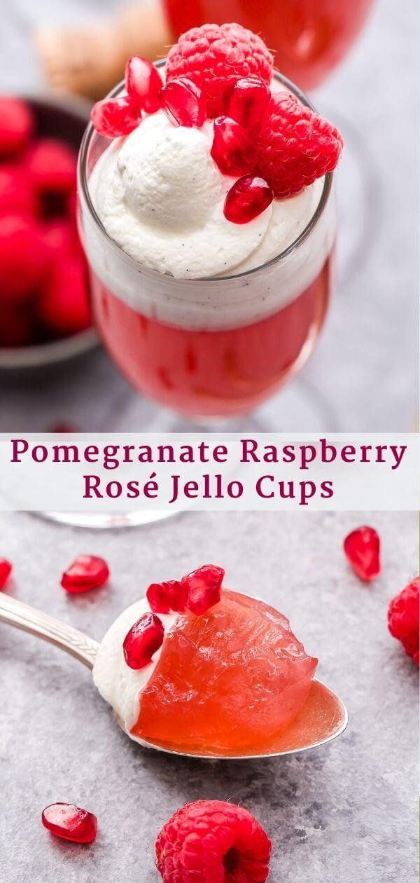 Pomegranate Raspberry Rosé Jello Cups Pinterest Collage.