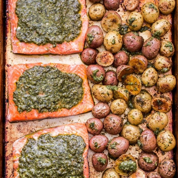 Sheet Pan Pesto Salmon and Potatoes