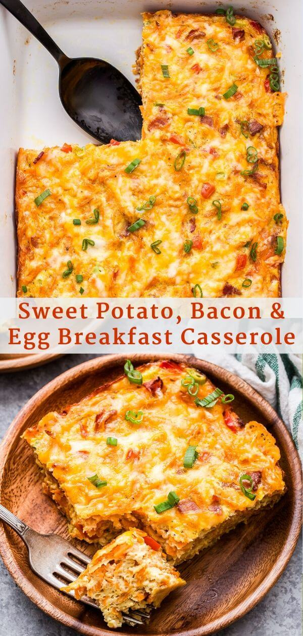 Sweet Potato, Bacon and Egg Breakfast Casserole Pinterest Collage