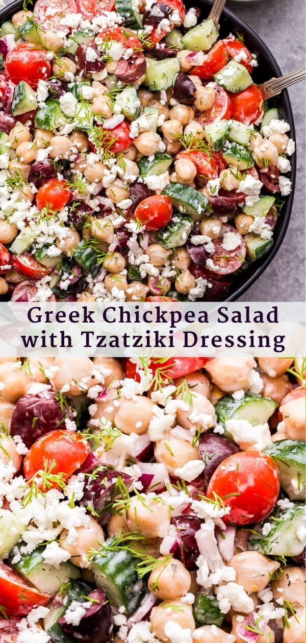 Greek Chickpea Salad with Tzatziki Dressing Pinterest Collage