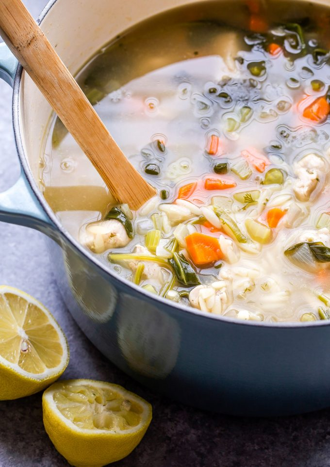 Lemon Chicken, Spinach and Orzo Soup in soup pot.