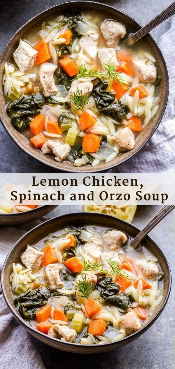 Lemon Chicken, Spinach and Orzo Soup Pinterest Collage.