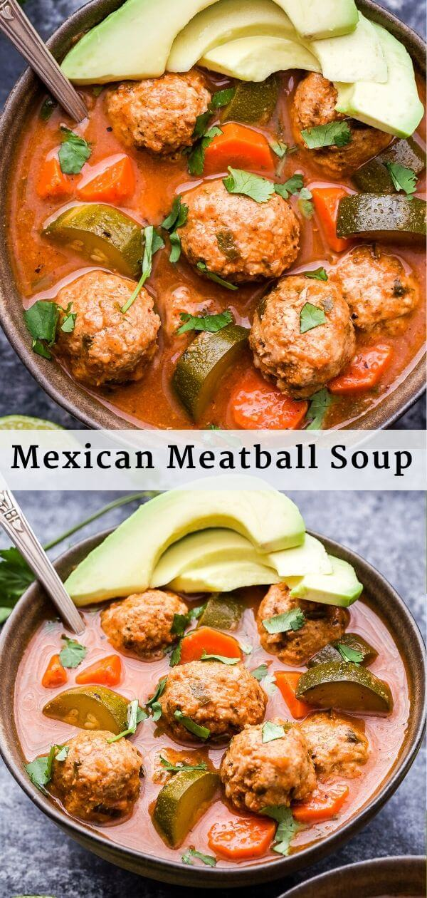 Mexican Meatball Soup Pinterest Collage