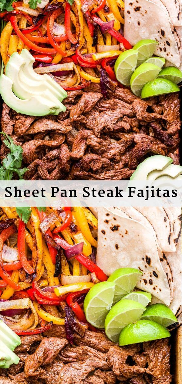 Sheet Pan Steak Fajitas Pinterest Collage.