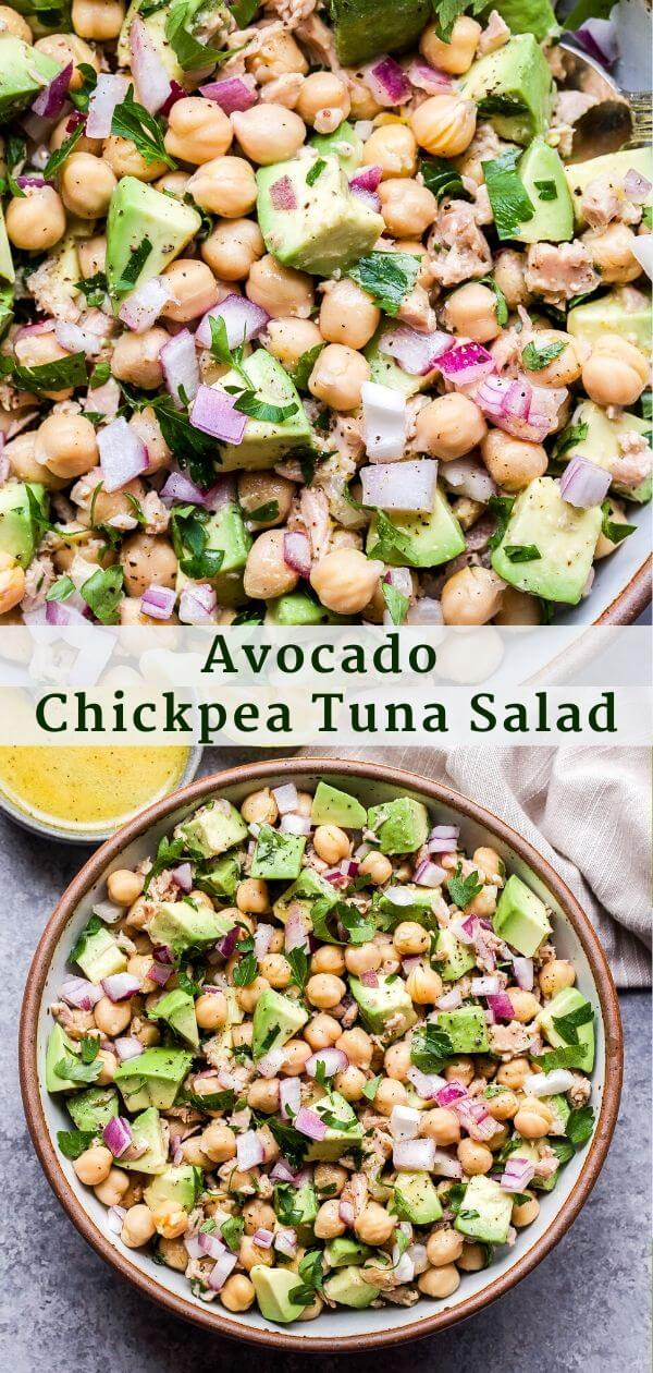 Avocado Chickpea Tuna Salad Pinterest Collage.