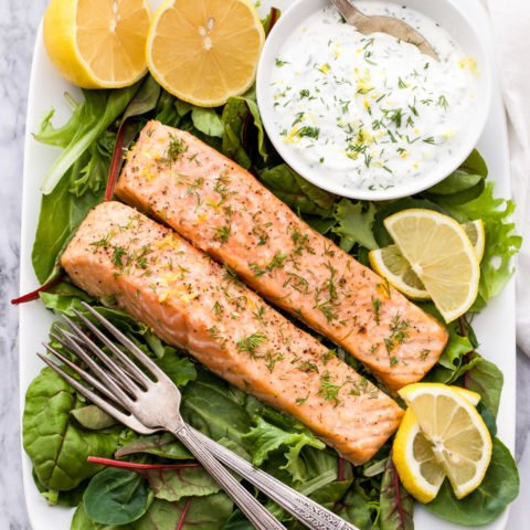 Baked Salmon with Lemon Dill Yogurt Sauce