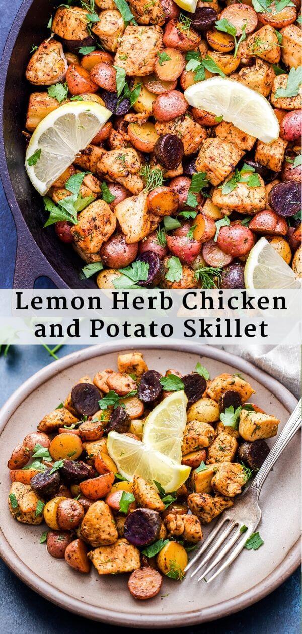 Lemon Herb Chicken and Potato Skillet Pinterest Collage