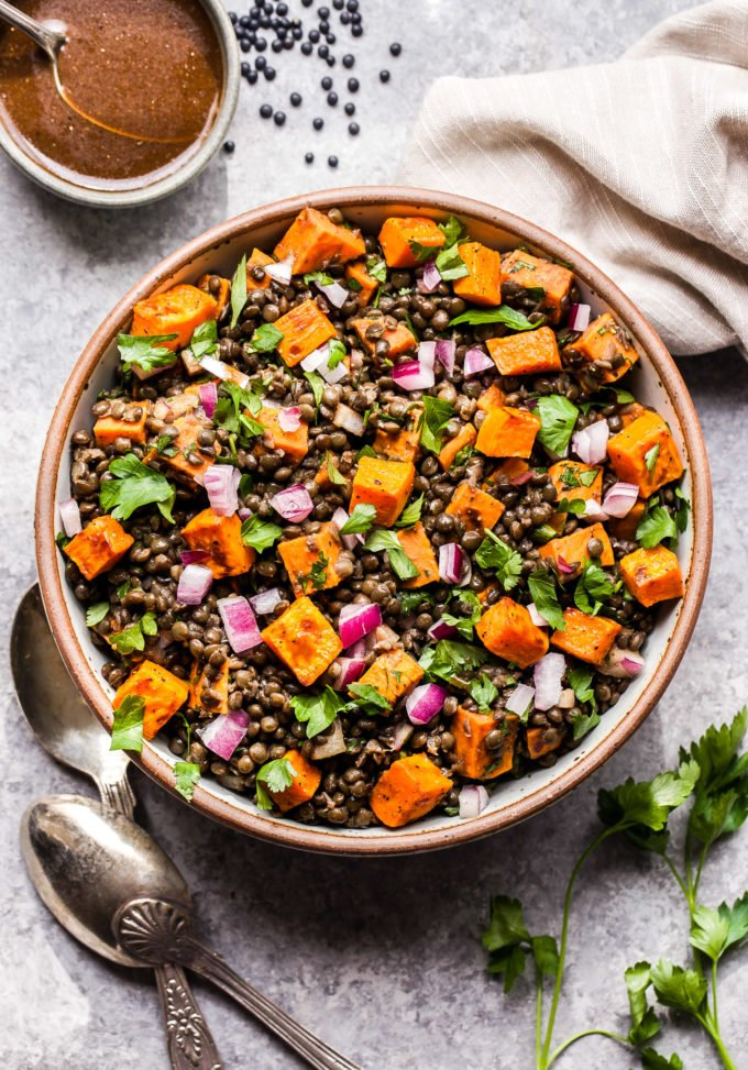 Roasted Sweet Potato Lentil Salad in round serving bowl.