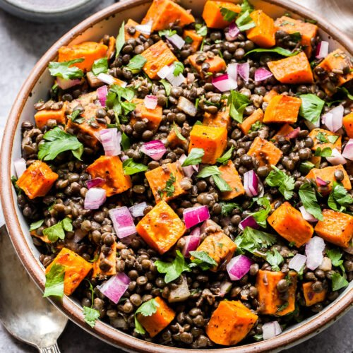 Roasted Sweet Potato Lentil Salad in round bowl with small bowl of vinaigrette behind it.