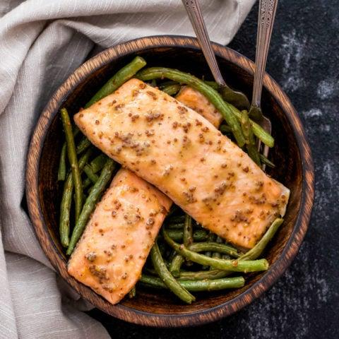 Sheet Pan Honey Mustard Salmon and Green Beans