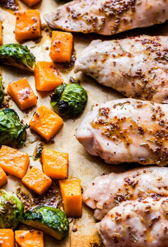 Sheet Pan Maple Mustard Chicken, Butternut Squash and Brussels Sprouts