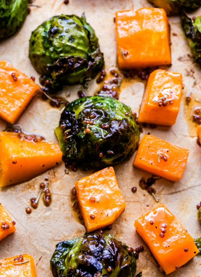 Butternut Squash and Brussels Sprouts on sheet pan
