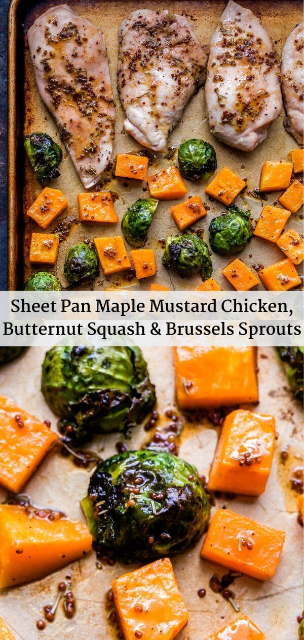 Sheet Pan Maple Mustard Chicken, Butternut Squash and Brussels Sprouts Pinterest Collage