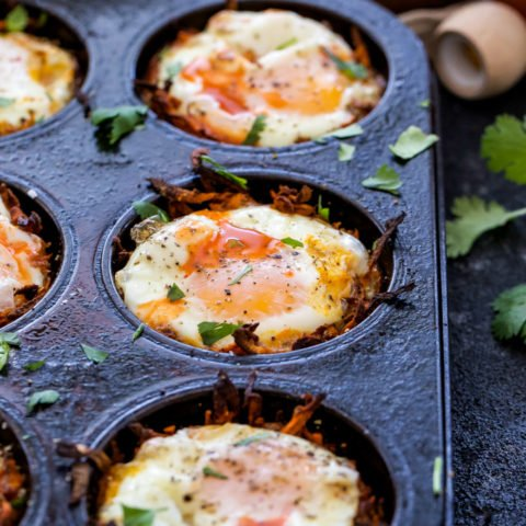 Southwest Baked Eggs in Sweet Potato Nests