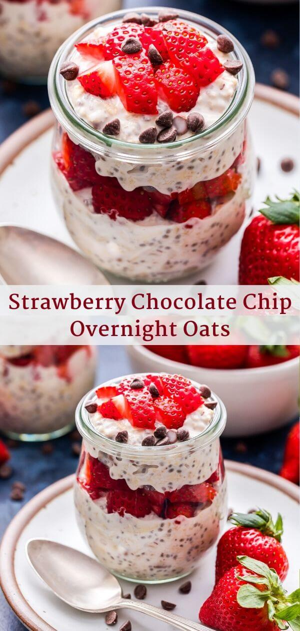 Strawberry Chocolate Chip Overnight Oats Pinterest Collage