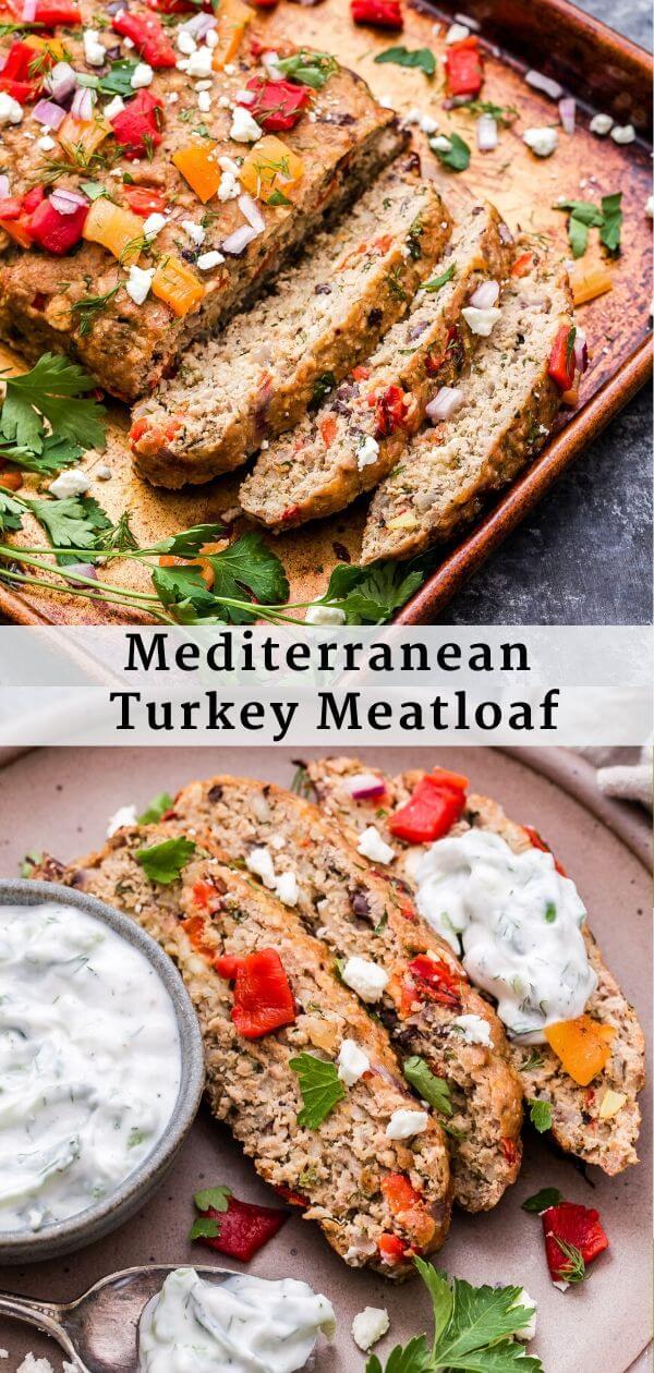 Mediterranean Turkey Meatloaf Pinterest Collage