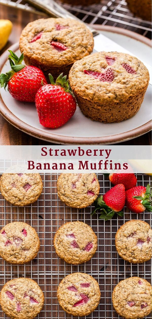 Strawberry Banana Muffins Pinterest Collage