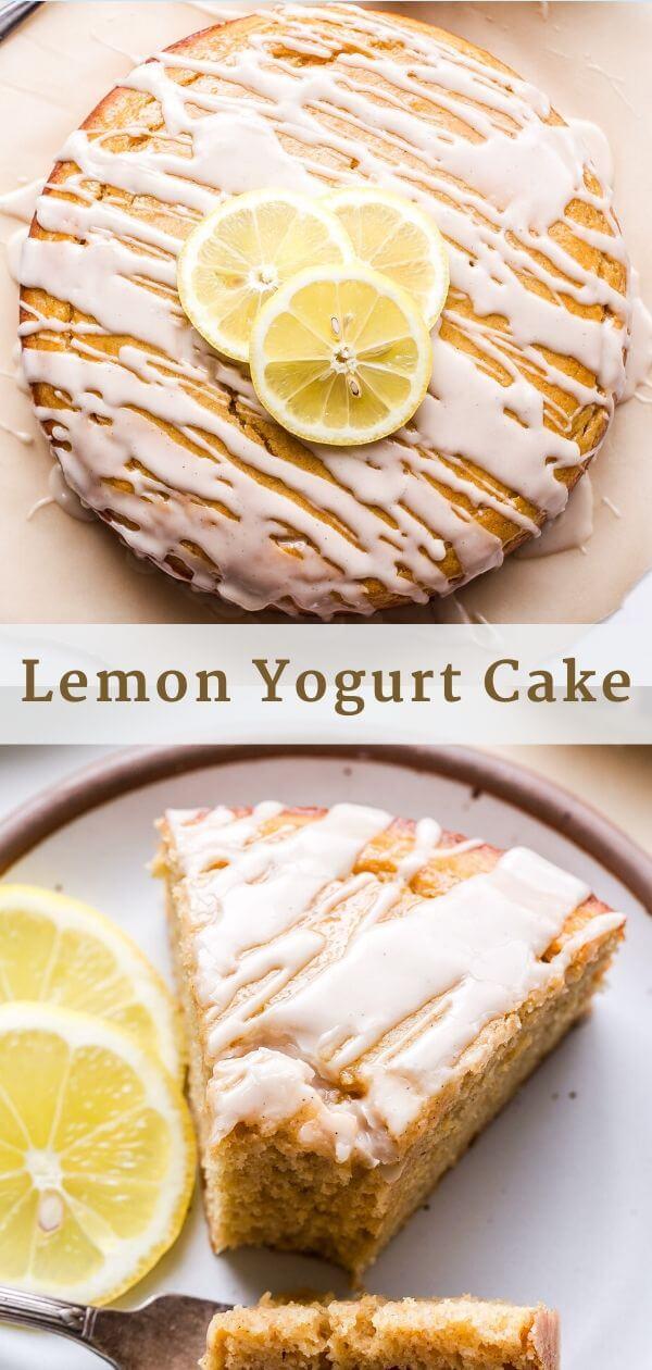 Lemon Yogurt Cake Pinterest collage.