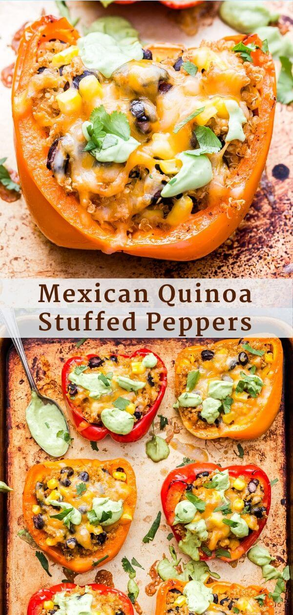 Mexican Quinoa Stuffed Peppers Pinterest collage.