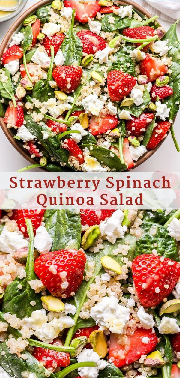 Strawberry Spinach Quinoa Salad Pinterest Collage.