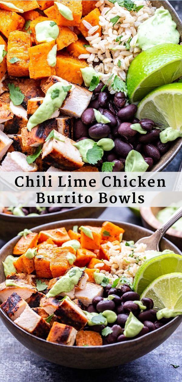 Chili Lime Chicken Burrito Bowls Pinterest collage.