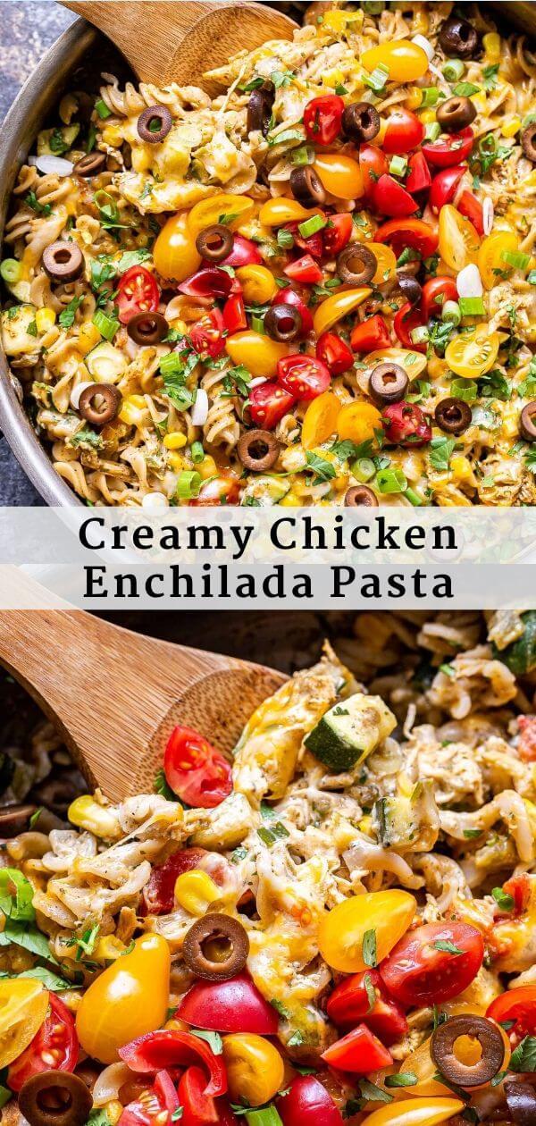 Creamy Chicken Enchilada Pasta Pinterest collage.