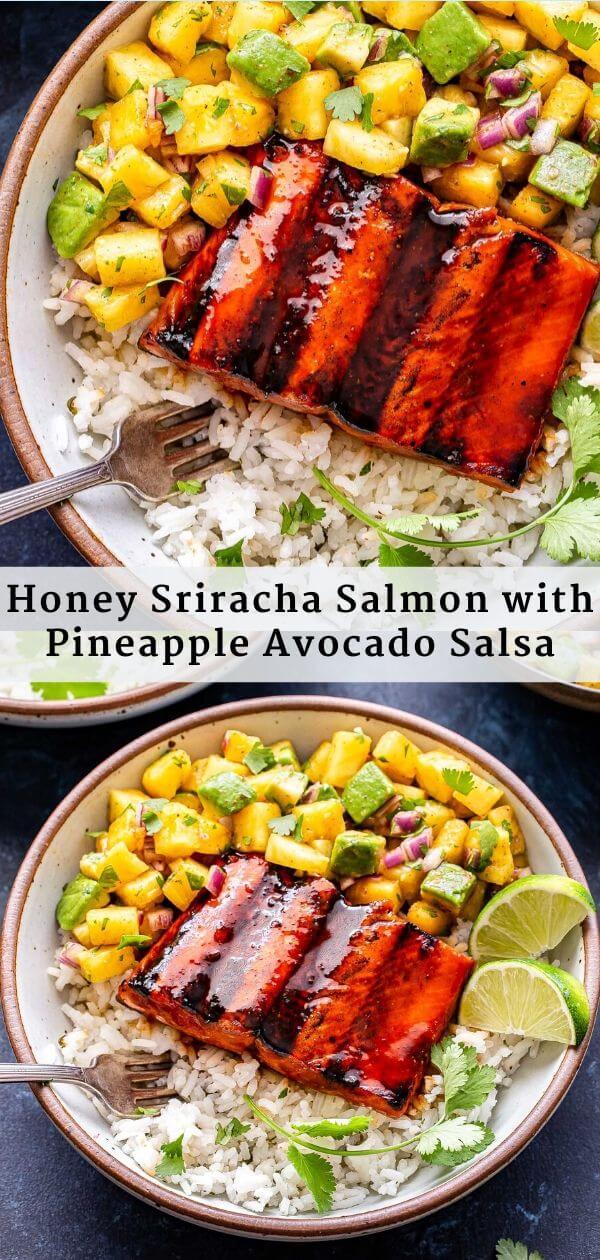 Honey Sriracha Salmon with Pineapple Avocado Salsa Pinterest Collage