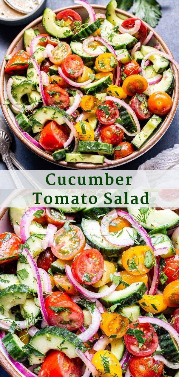 Cucumber Tomato Salad Pinterest Collage