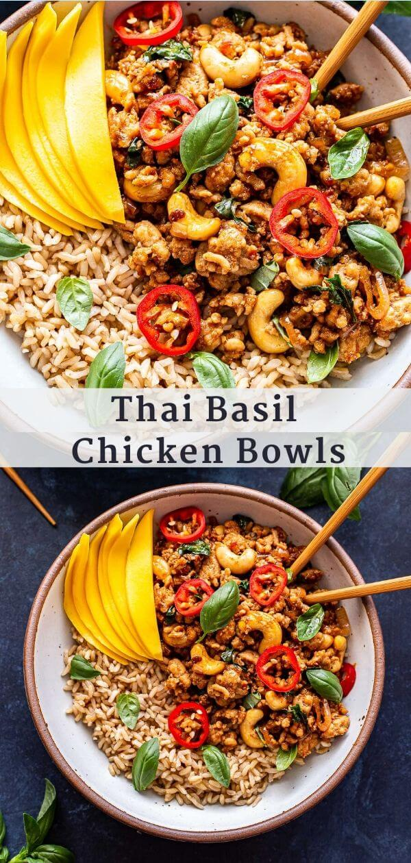 Thai Basil Chicken Bowls Pinterest Collage.