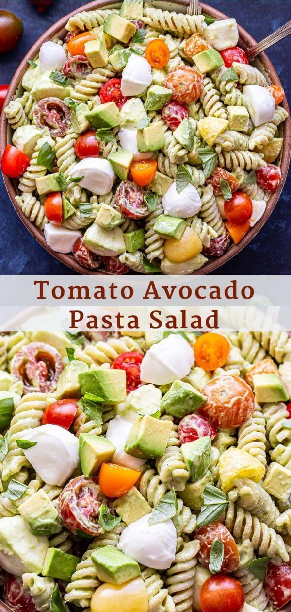 Tomato Avocado Pasta Salad Pinterest Collage.