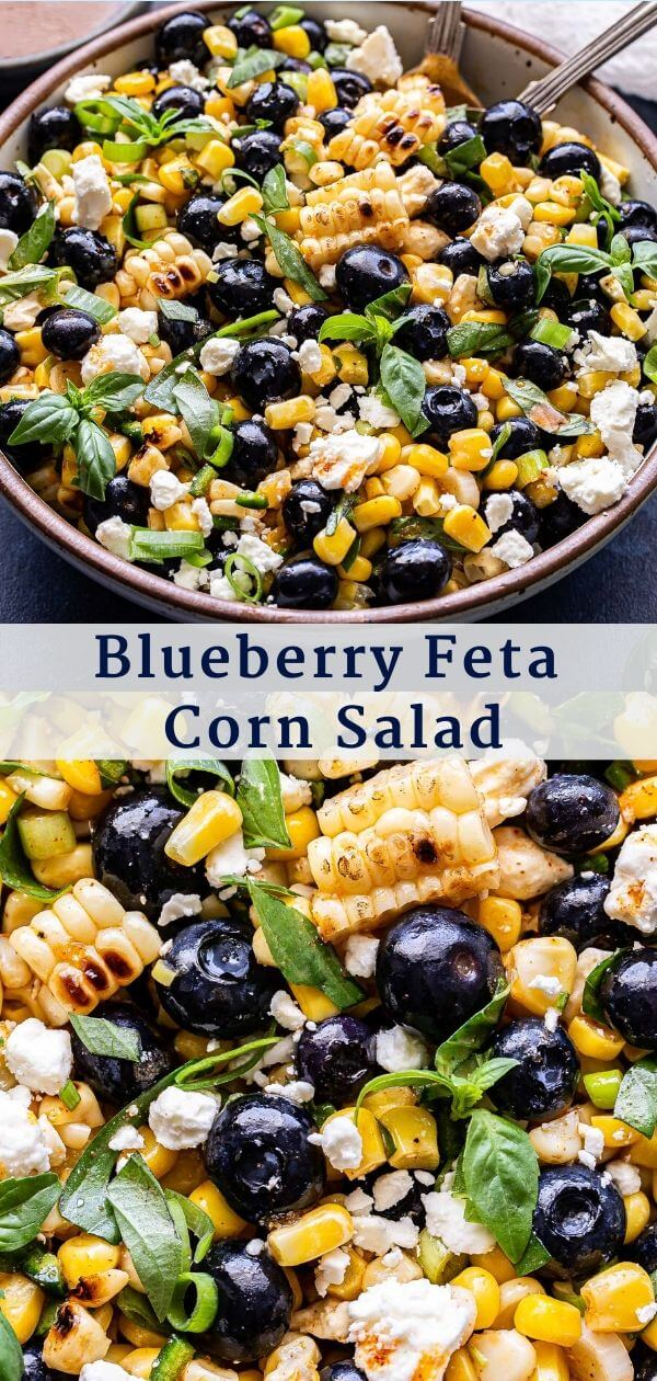 Blueberry Corn Feta Salad Pinterest Collage.