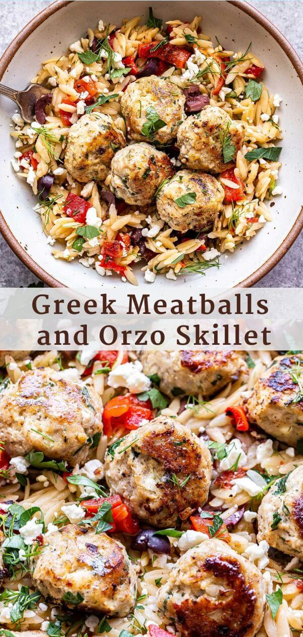Greek Meatballs and Orzo Skillet Pinterest Collage.