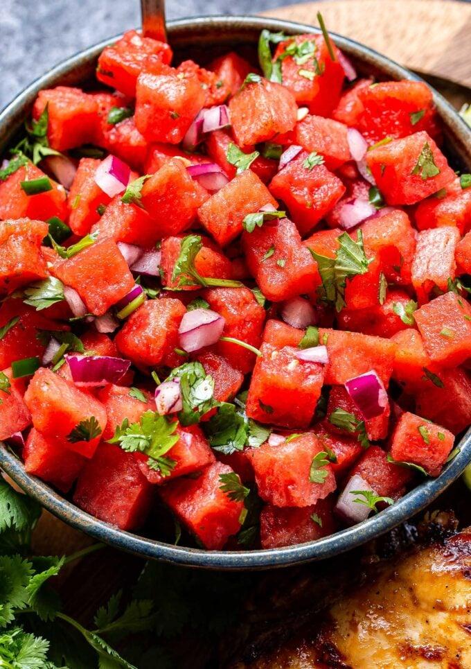 Bowl of watermelon salsa.