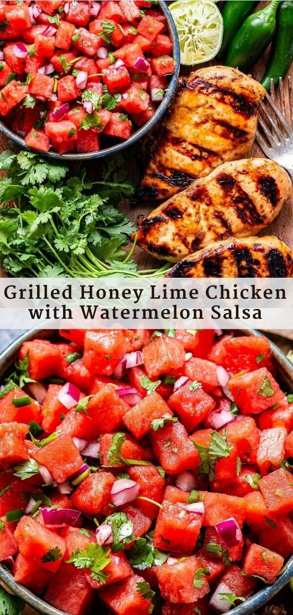 Grilled Honey Lime Chicken with Watermelon Salsa Pinterest collage