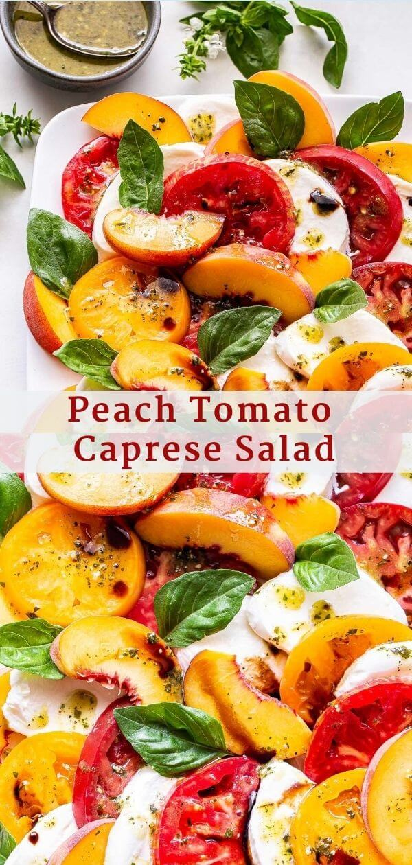 Peach Tomato Caprese Salad Pinterest Collage