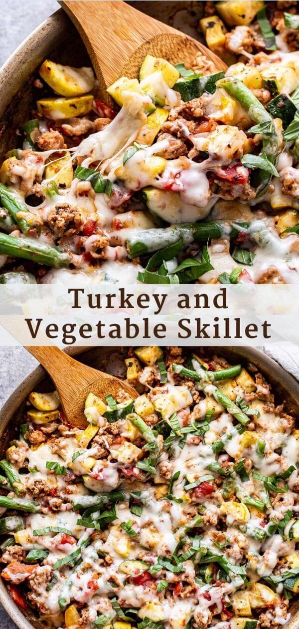 Turkey and Vegetable Skillet Pinterest Collage