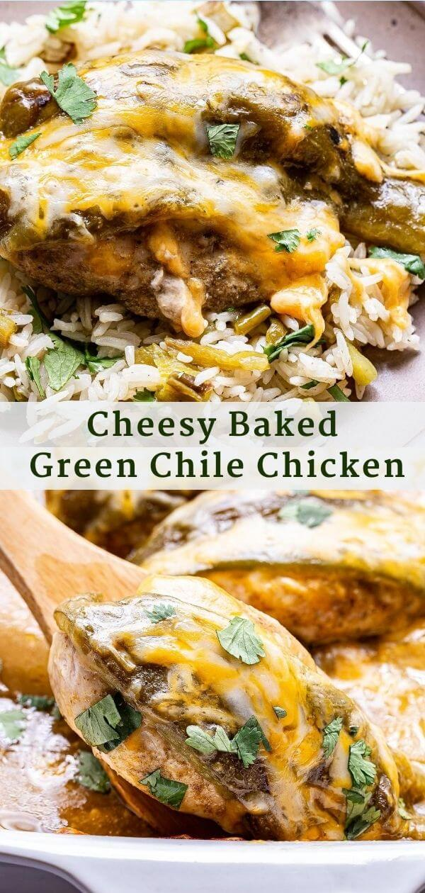 Baked Green Chile Chicken Pinterest Collage