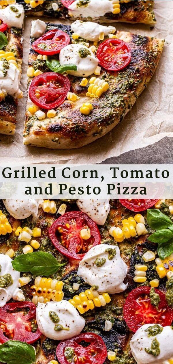 Grilled Corn, Tomato and Pesto Pizza Pinterest Collage