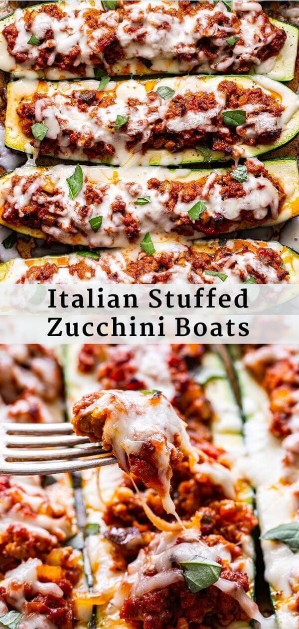 Italian Stuffed Zucchini Boats Pinterest Collage