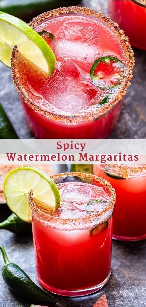 Spicy Watermelon Margaritas Pinterest Collage