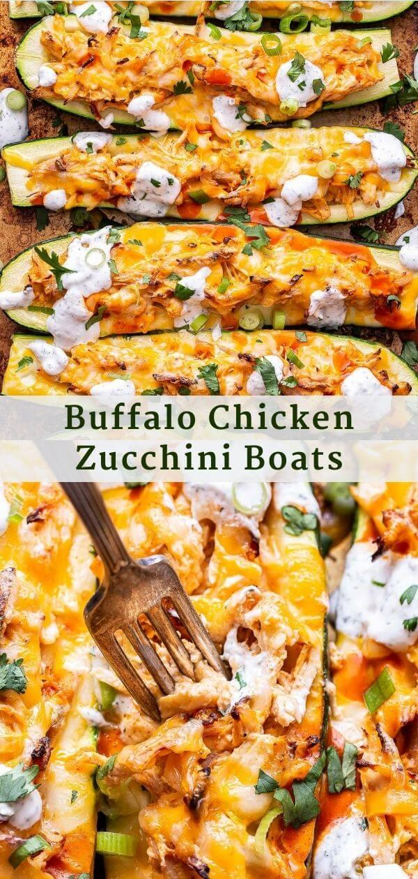 Buffalo Chicken Zucchini Boats Pinterest Collage