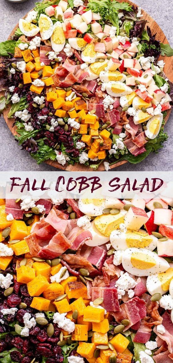 Fall Cobb Salad Pinterest collage.